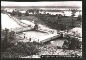 Fotografie Fotograf unbekannt, Ansicht La Brillanne, Bache Et Pont De Courbon 1933, Brücken-Baustelle
