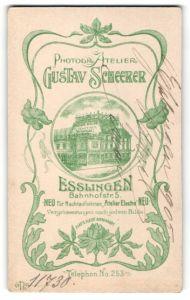 Fotografie Gustav Scheerer, Esslingen, rückseitige Ansicht Esslingen, Atelier Bahnhofstr. 5, vorderseiteig Portrait