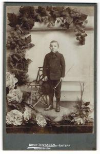 Fotografie Arno Leutzsch, Artern, Portrait Knabe mit Gehstock und Hut, Montage mit Trauben