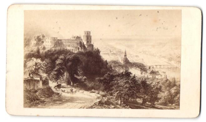 Fotografie Ed. Lange, Heidelberg, Ansicht Heidelberg, Blick zum Schloss