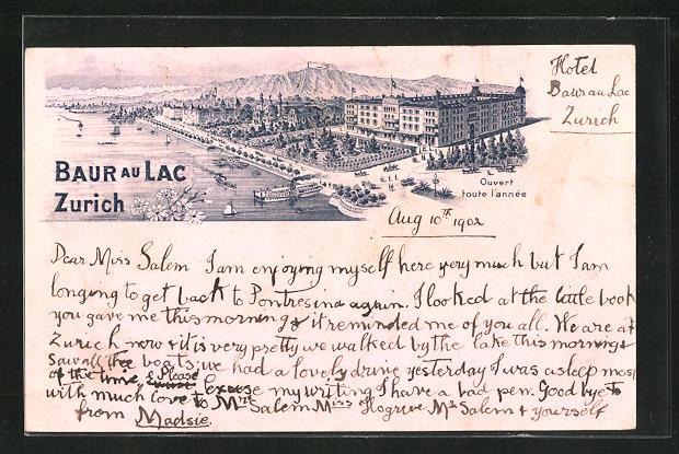 Lithographie Zürich, Ortsansicht mit Hotel Baur au Lac