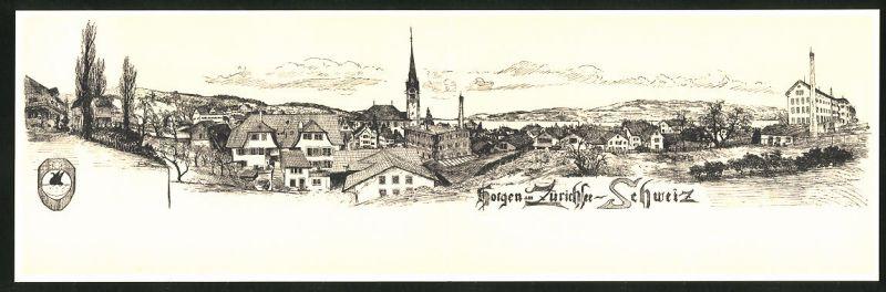 Klapp-AK Horgen, Panoramablick auf den Ort am Zürichsee