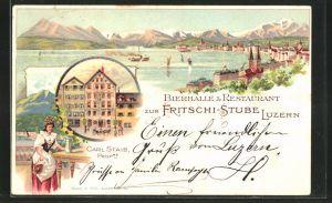 Lithographie Luzern, Ortsansicht, Bierhalle & Restaurant zur Fritschi-Stube, Frau in Tracht