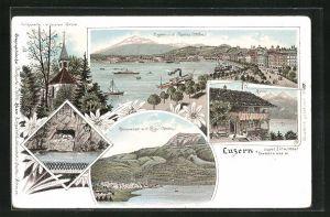 Lithographie Luzern, Ortsansicht mit Pilatus, Küssnacht mit Rigi, Rütli
