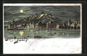 Lithographie Luzern, Teilansicht mit Pilatus bei Mondschein