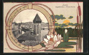 Passepartout-AK Luzern, Kapellbrücke und Wasserturm