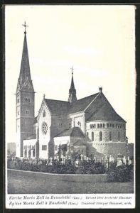 AK Reussbühl, Kirche Maria Zell mit Friedhof