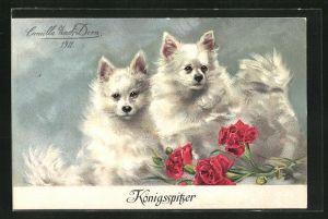 Künstler-AK Königsspitzer, Spitze und rote Nelken