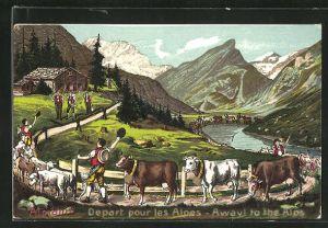 Künstler-AK Alpfahrt, Senner treiben ihre Rinder auf die Sommeralm