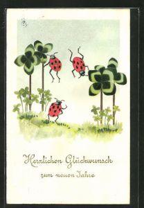 Präge-AK Neujahrsgruss, Marienkäfer auf einer Kleewiese