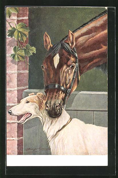 Künstler-AK Windhund und braunes Pferd