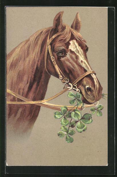 Präge-AK Pferd frisst Glücksklee