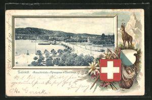 Passepartout-Lithographie Zürich, Quaibrücke, Alpenquai und Uetliberg, Wappen mit Bergsteigerausrüstung