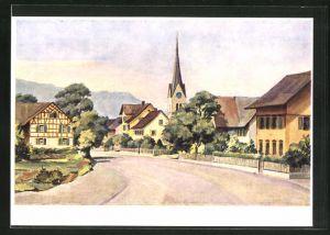 AK Wülflingen, Dorfpartie an der Wülflinger Strasse mit Blick zur Kirche