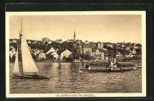 AK Zollikon, Blick vom See auf den Ort