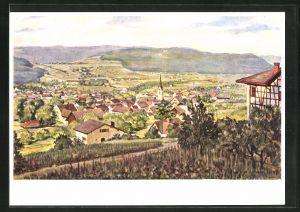 Künstler-AK Wülflingen, Teilansicht vom alten Dorf