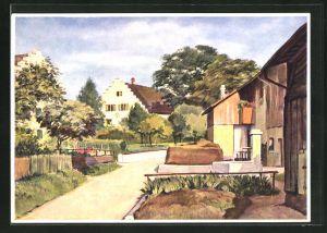 Künstler-AK Wülflingen, Teilansicht der Oberdorfstrasse mit Schloss