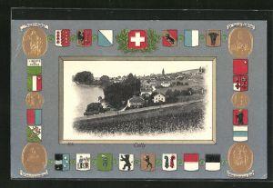 Präge-AK Cully, Ortsansicht mit Passepartoutrahmen Wappen und Teildenkmal, Winkelrieddenkmal, Nationaldenkmal i. Genf