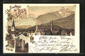 Lithographie Bex, Ortsansichten et les Diablerets, Tour de Duin