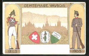 AK Vaud, Centenaire Vaudois, Ortspartie und Wappen, Soldaten in Uniformen mit Gewehren 1803 u. 1903