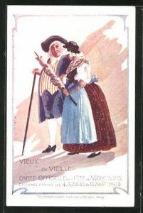AK Vevey, Vieux & Vieille, Fete des Vignerons 1905, Altes Pärchen bei einem Spaziergang