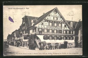 AK Küssnacht a. Rigi, Gasthaus zum Engel, Hier war Goethe 1797 Gast