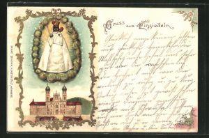 Lithographie Einsiedeln, Ansicht der Wallfahrtskirche, Mariendarstellung