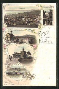 Lithographie Heiden, Kurhaus, Kirchplatz, Bodensee-Dampfer