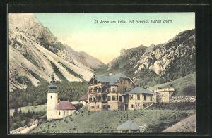AK St. Anna am Loibl, Ortspartie mit Schloss Baron Baron