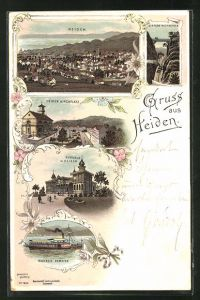 Lithographie Heiden, Kurhaus, Kirchplatz, Bodensee Dampfer