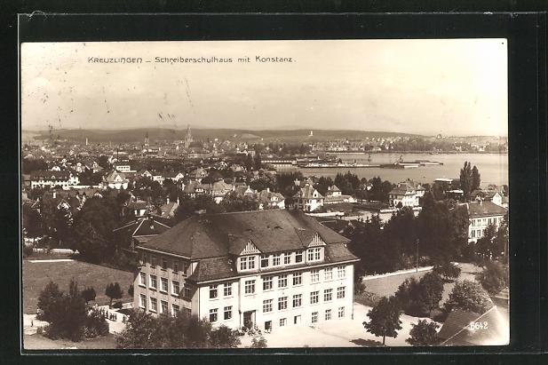AK Kreuzlingen, Schreiberschulhaus mit Konstanz