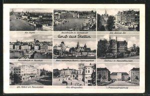 AK Stettin, Hafen, Rathaus, Königsplatz, Ufa-Palast am Paradeplatz