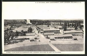 AK Columbia, SC, U. S. National Army Cantonment, Camp Jackson, street view showing barracks and laundry building