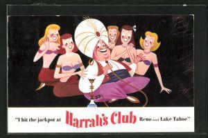 AK Reno, NV, I hit the jackpot at Harrah's Club, Inder mit halbnackten Frauen