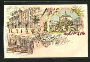 Lithographie Leipzig, Konservatorium, Krystallpalast, Saal des Konservatorium