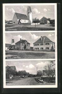 AK Lichtenau, Schule und Pfarrhaus, Ortsansicht, Kirche