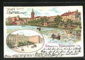 Lithographie Königsberg, Panorama vom Schlossteich