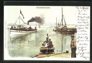 AK Wesel, Eisenbahnbrücke, Dampfschiff, Fischerboot mit Netz