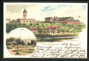 Lithographie Dallgow-Döberitz, Offizier-Casino, Partie im Offizier-Park