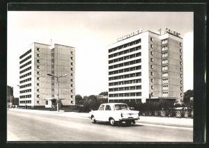 AK Erfurt, Hotel Tourist und Neubauten am Juri-Gagarin-Ring