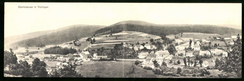 Klapp-AK Ebertshausen i. Th., Panoramablick auf den Ort