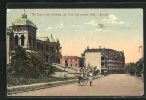 AK Durban, the Esplanade showing the Club and Marine Hotel