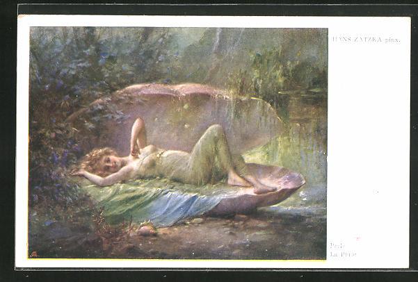 Künstler-AK Hans Zatzka: Perle, junge Dame liegt in einer Muschel