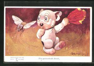 Künstler-AK George Ernest Studdy: Eine geräuschvolle Runde, eine Hummel umkreist Bonzo