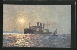 Künstler-AK Robert Schmidt: Fernando Noronha, Passagierschiff vor der Küste
