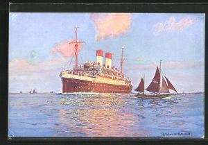 Künstler-AK Robert Schmidt: Passagierschiff vor der Küste
