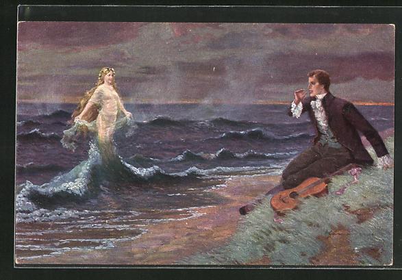Künstler-AK Robert Kämmerer: Der Abend kommt gezogen, Meerfrau steigt aus den Wellen