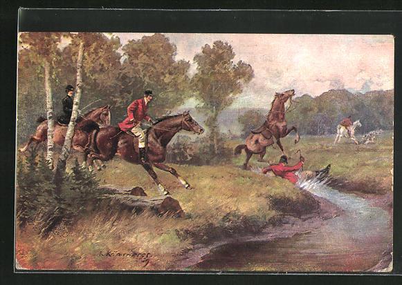 Künstler-AK Robert Kämmerer: Jäger fällt vom Pferd in einen Bach
