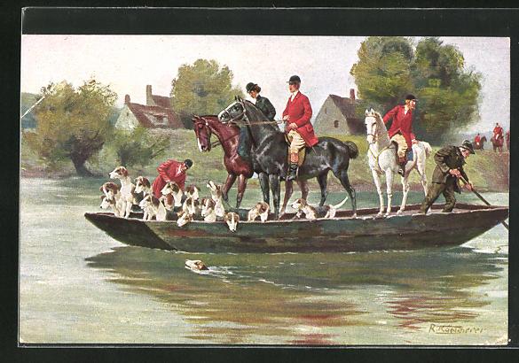 Künstler-AK Robert Kämmerer: Jäger auf Pferden mit Hunden fahren auf einem Boot