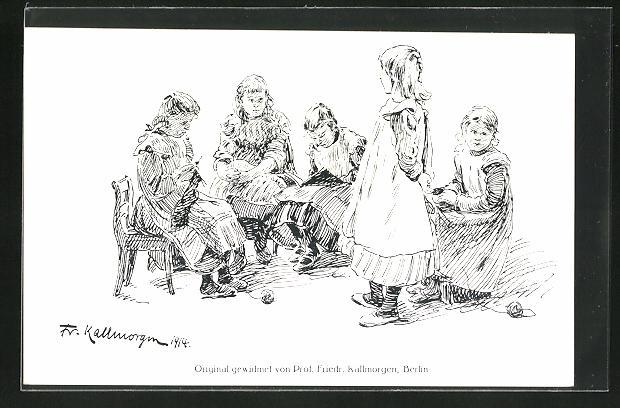 Künstler-AK Friedrich Kallmorgen: Fünf Mädchen bei der Handarbeit